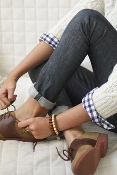 love everything: gingham, loafers, cable knit, cuffed skinnies