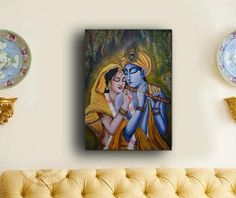 Original Radha Krishna painting, Large Ready to hang stretched Hand painted Acrylic Paintings on Canvas, Hindu, Indian Home Decor, Wall art Krishna Painting, Krishna Art, Traditional Wall Paint, Fish Drawings, Galaxy Painting, Your Paintings, Acrylic Paintings, Hindu Art, Handmade Home Decor