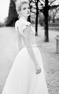 One of my favorites .Cheap Berta 2014 Chic High Neck Wedding  Dresses Lace Appliques Cap Sleeves Vintage Bridal Dress Wedding Dress Sheer Castle Wedding Gowns