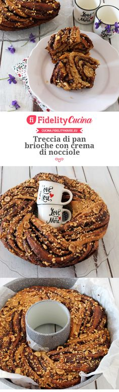 Treccia di pan brioche con crema di nocciole Vegan Cake, Confectionery, Sweet Life, Cake Cookies, Waffles, Food And Drink, Yummy Food, Sweets, Sugar