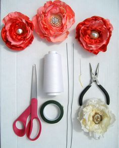 Running With Scissors: DIY: Fabric Flower Wedding Bouquet ---- tutorial with interesting suggestions involving wire. Faux Flowers, Diy Flowers, Fabric Flowers, Paper Flowers, Cloth Flowers, Flower Diy, Fresh Flowers, Wedding Fabric, Diy Wedding