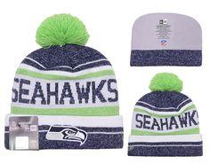 a27c3a9da06 Men s   Women s Seattle Seahawks New Era 2016 NFL Snow Dayz Sports Knit Pom  Pom Beanie Hat - Navy   White