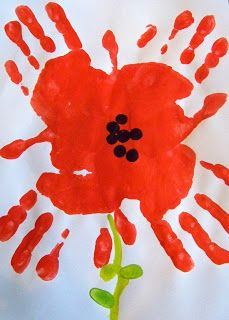 Spring art for kids flowers hand prints 17 Ideas Remembrance Day Activities, Remembrance Day Poppy, Toddler Art, Toddler Crafts, Kids Crafts, Art Floral, Kids Art Class, Art For Kids, Paper Plate Poppy Craft