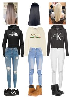 """""""Hoodies n jeans x"""" by eliza-winstanley ❤ liked on Polyvore featuring The North Face, adidas, Gucci, Timberland, Calvin Klein, River Island and UGG"""