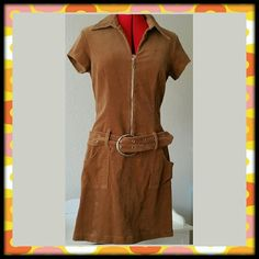 """Vtg. Tan Corduroy Drop Waist Dress Absolutely gorgeous, tan pinwale corduroy dress with 60s styling! Low waist with attached wide belt and front zipper. City Triangles,  size 11, fits a medium, measures:  underarms 18.5"""" across;  waist 16"""" across;  hips 19"""" across;  shoulder to shoulder 16.5""""; length from back of neck 35"""". Vintage Dresses"""