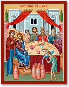 Wedding at Cana Icon, the Wedding was Saint Joanna the Myrrhbearer and her husband Chuza the Steward, relatives of Christ and the Blessed Virgin Mary Religious Images, Religious Icons, Religious Art, Catholic Books, Catholic Art, Monastery Icons, Beautiful Morning Messages, Roman Church, Life Of Christ