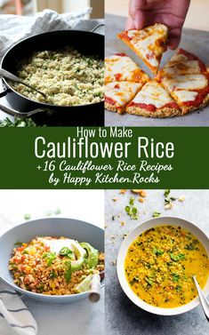Light and fluffy basic Cauliflower Rice recipe used to make delicious gluten-free and low carb sides, risotto, fried rice, salads, soups, burrito bowls, sushi and more! Step-by-step video guide on how to make cauliflower rice using a box grater plus 16 recipes that include cauliflower rice.