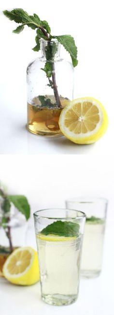 prosecco sparkler with mint, lavender and lemon