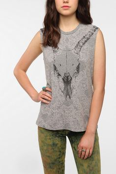 Truly Madly Deeply Ornate Cattle Skull Muscle Tee  #UrbanOutfitters