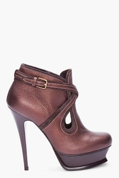 YVES SAINT LAURENT //ESPRESSO TRIBUTE ANKLE BOOTS