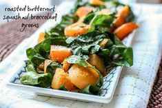 Caramelized and delicious roasted butternut squash tossed with sweet broccoleaf broccoli leaves -- move over Kale, there's a new super green in town! #vegan #vegetarian