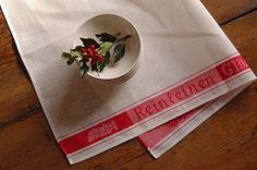 Vintage Linen Towel Holiday RED German Farm by theprimitivehome, $13.00