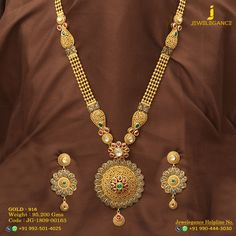 Gold 916 Premium Design Get in touch with us on Indian Jewelry Sets, India Jewelry, Temple Jewellery, Bridal Necklace, Bridal Jewelry, Gold Necklace, Real Gold Jewelry, Gold Set, Jewelry Patterns