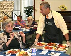 Governor Patrick serving meals in Worcester Massachusetts #marchformeals #endseniorhunger #mealsonwheels