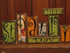 Celebrate St. Pattys Day with this fun Happy St. Patricks Day sign word block set that measures 23.5 wide and 8 high. Cute shamrocks top off