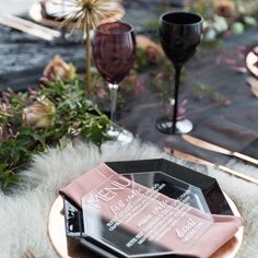 A tablescape with shades of purple rose gold and multiple textures for a swoon-worthy look!  Planner/stylist: @bigcitybride; Photography: @riverbend_studio; Menu: @paperandpineco; Venue: @chezeventspace #regram