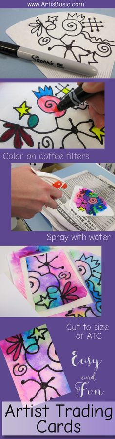 How to Make Sprayed Artist Trading Cards with Coffee Filters