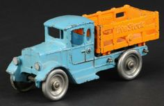 """Cast iron, blue cab with orange stake body, embossed 'Live Stock' on sides, nickel plated disc wheels, cab features oval side windows. 8"""" long"""
