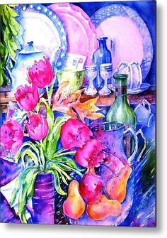 """#Tulips Metal Print featuring the painting """"Still Life With Tulips"""" by Trudi Doyle"""