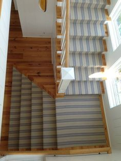 Advantages Of Dash And Albert Stair Runner — Railing Stairs and Kitchen Design Striped Carpet Stairs, Striped Carpets, Modular Staircase, Staircase Design, Dash And Albert Runner, Pine Cone Hill Bedding, Hardwood Stairs, Entry Hall