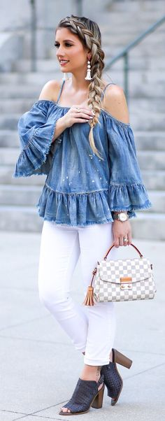 Cute spring outfits / Denim Off Shoulder Top / White Denim / Black Leather Open Toe Booties Stylish Summer Outfits, Cute Spring Outfits, Spring Fashion Outfits, Summer Outfits Women, Cute Outfits With Jeans, Cute Outfits For School, Cool Outfits, Denim Off Shoulder Top, Look 2018