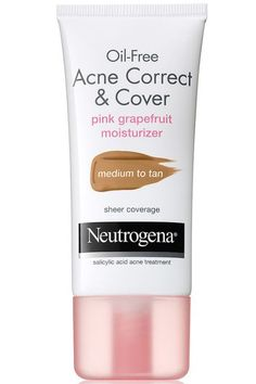 Everyone with acne knows that caking on foundation to cover it never makes it look better, and it certainly doesn't help clear it up. This tinted moisturizer with salicylic acid gives you just enough shine-free coverage while also fixing the problem. Neutrogena Oil-Free Acne Correct & Cover Pink Grapefruit Moisturizer, $8.50, target.com.