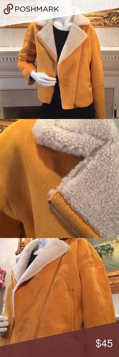 Zara gold faux suede/shearling zippered jacket Soft acrylic zippered Zara jacket with look and feel of suede and shearling.  Warm and comfortable looks great with jeans.  Brand new (purchased in Munich) Zara Jackets & Coats