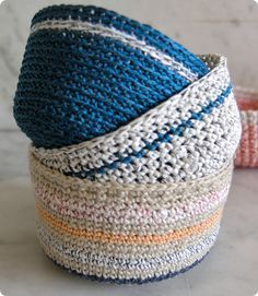 """Crochet Basket with Baker's Twine.  We used a size """"I"""" crochet hook with our twine."""