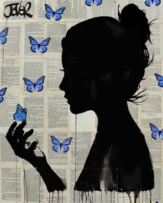 View LOUI JOVER's Artwork on Saatchi Art. Find art for sale at great prices from artists including Paintings, Photography, Sculpture, and Prints by Top Emerging Artists like LOUI JOVER. Blue Drawings, Cool Art Drawings, Art Drawings Sketches, Newspaper Painting, Newspaper Art, Butterfly Artwork, Butterfly Drawing, Blue Butterfly, Butterfly Painting