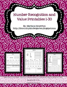 *Lil Country Kindergarten*: Number Recognition and Value Printables Updated to Include 21-30