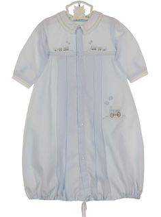 NEW Hand Embroidered Pale Blue Daygown and Hat with Train Embroidery $55.00 #BabyBoysDaygown #BoysTakeHomeOutfit