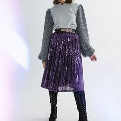 """New, purple and sparklyWill this be your Black Friday treat!?Get ready!  Ft.The """"Purple Rain"""" sequined skirt  #purple #sequins #midiskirt #xmasoutfit #fashion #style #gifts"""