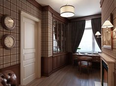 Saint Petersburg Apartment with a Classic Curve - Image 04 : Classy Plaid Wallpaper Masculine Study