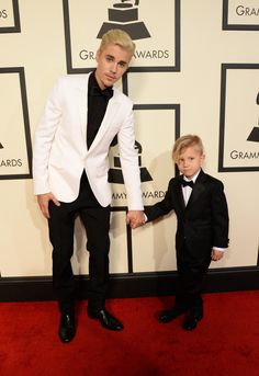 Justin Bieber & his little brother -  2016 Grammy Awards: Best Dressed on the Red Carpet - Wmag