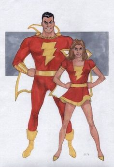 Mary Marvel and Shazam by Phill Noto