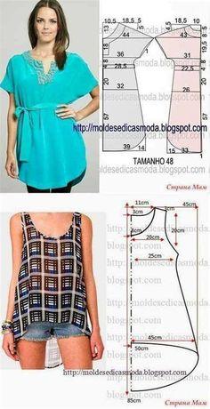 Dress Sewing Patterns, Blouse Patterns, Sewing Patterns Free, Clothing Patterns, Blouse Designs, Fashion Sewing, Diy Fashion, Ideias Fashion, Fashion Outfits