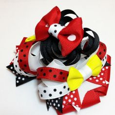 #CCC Red Black Yellow Minnie Mouse Boutique Hair Bow by PoshBabyStore.com