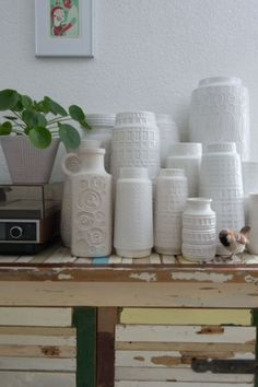 "These white vintage vases are from our feature ""Quirky Talents"" Decor, Vintage Vases, Vase, White Vintage, Vintage"