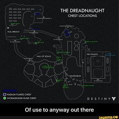 Dreadnaught Ship Map W/ Chest Locations Destiny Bungie, Destiny Game, Rise Of Iron, Ship Map, Game Guide, Videogames, Cool Photos, Ps4, Gaming