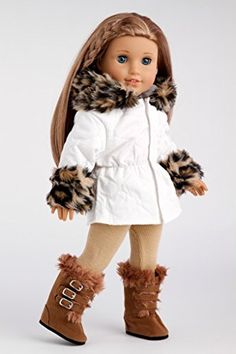 Winter Fun - 3 piece outfit - Ivory Parka with Leggings and Boots - 18 Inch Doll Clothes (doll not included): DreamWorld Collections - 18 Inch American Girl Doll Clothes American Doll Clothes, Ag Doll Clothes, American Dolls, Custom American Girl Dolls, Ropa American Girl, Winter Outfits, Cool Outfits, Winter Clothes, America Girl