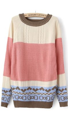 National wind color matching love long pullover sweater pink,nice