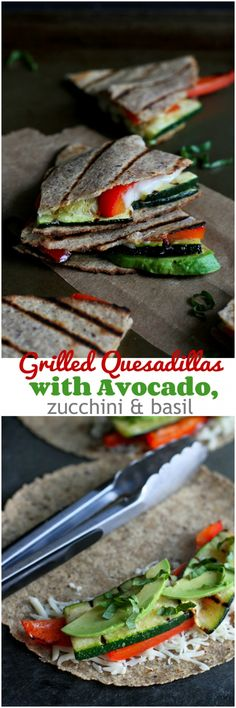 Grilled Quesadillas with Avocado, Zucchini and Basil...212 calories and 6 Weight Watchers PP | cookincanuck.com #vegetarian #recipe