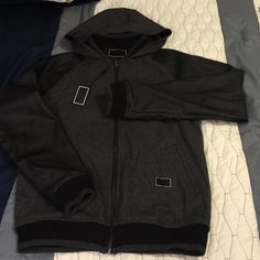 Men's Vegan Leather Baseball Jacket Varsity style with hood. Vegan Leather Sleeves and Wool Shell. Like New Worn One Still Has Tags! Fresh Jive Jackets & Coats