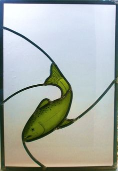 Stained glass trout panel