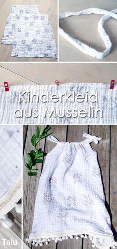 Cuci un vestito per bambini – istruzioni e taglia un vestito estivo Kinderkleid nähen – Sommerkleid aus Musselin – Anleitung – Talu.