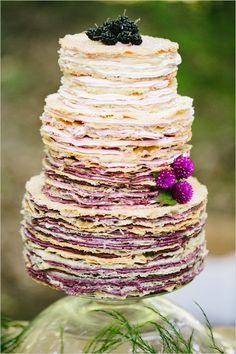 ombre color wedding cake; via weddingchicks | purple wedding cake | amethyst wedding | rustic weddding cake | layered cake |