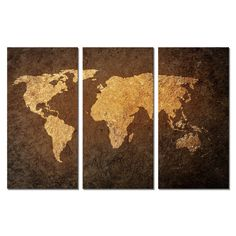 Canvas Print Wall Art Home Decor Painting Picture World Map 3pcs Brown Abstract #Unbranded #ArtDeco