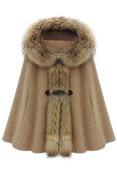ロムウェ(ROMWE)フードケープスタイルライトタンコート Hooded Cape-style Light-tan Coat 1