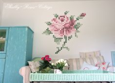 Rose cross stitch mural by Shabby-Roses-Cottage bloger @Nell {Shabby-Roses-Cottage}.  @Nell {Shabby-Roses-Cottage} was inspired by @Eline Pellinkhof.