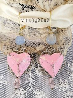 pink heartsupcycled painted heart earrings dangle so by Arey, $15.00